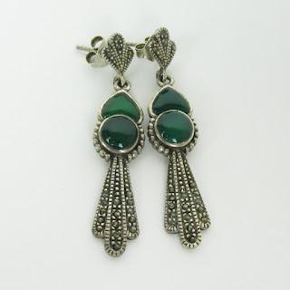 Sterling Silver & Green Stone Earrings