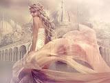 Girl In Dress Of White Wind