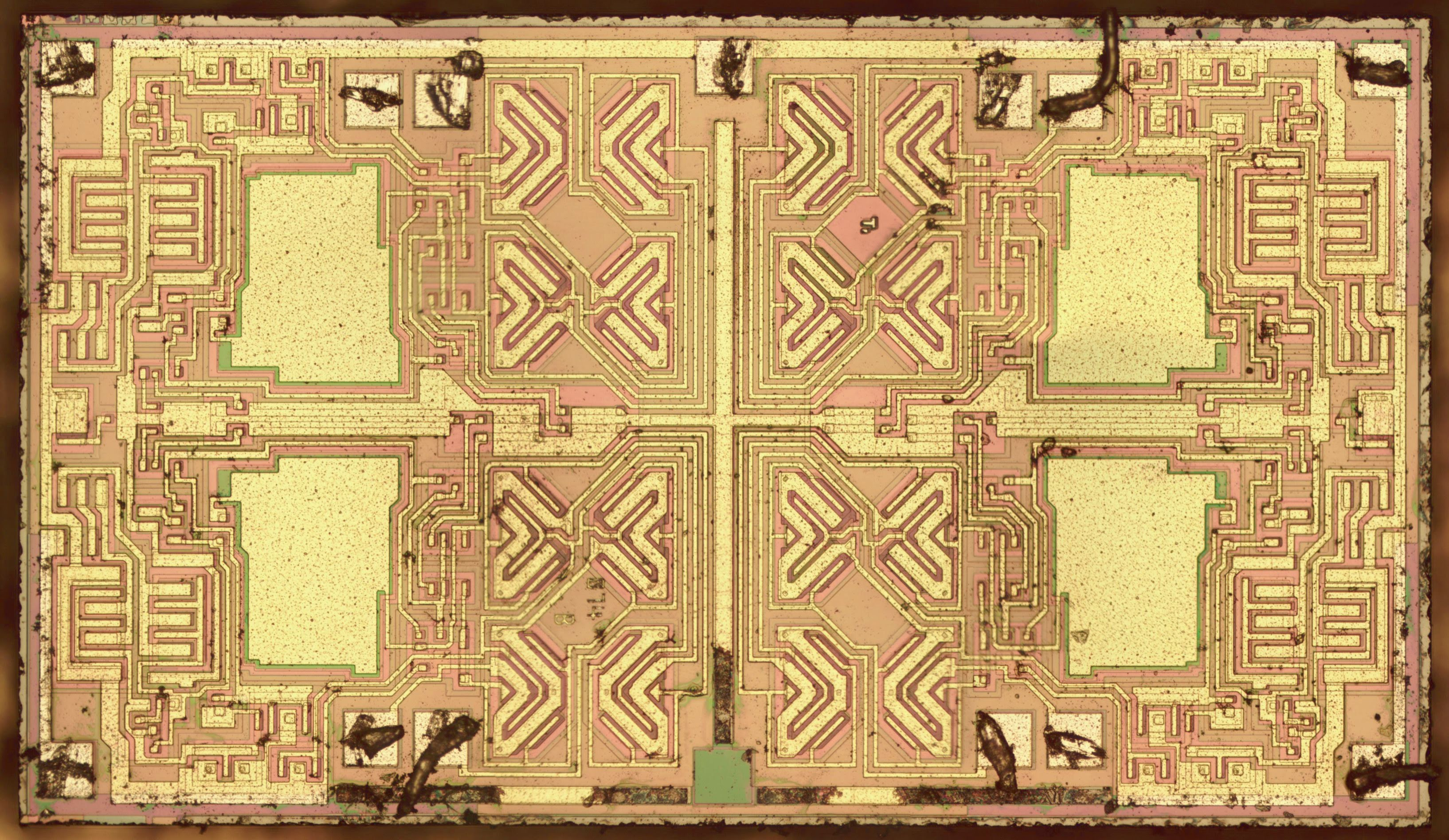 Silicon Die Analysis Inside An Op Amp With Interesting Butterfly 741 Circuit Diagrams Photo Of The Tl084 Bond Wires Removed