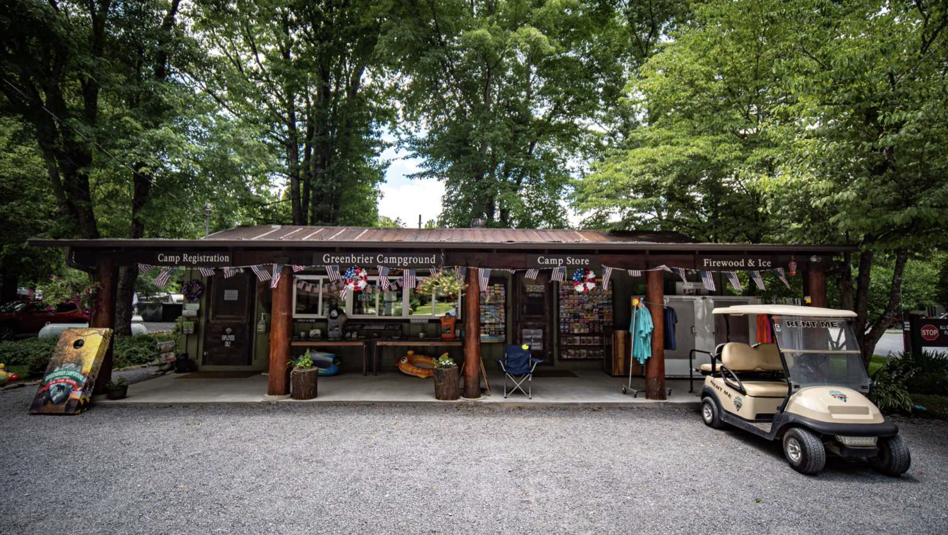 Camp store with golf cart in front at Greenbrier Campground in Tennesee