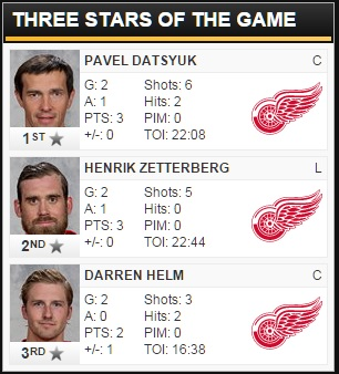 02/14/2016 Bruins @ Red Wings Three Stars of the Game