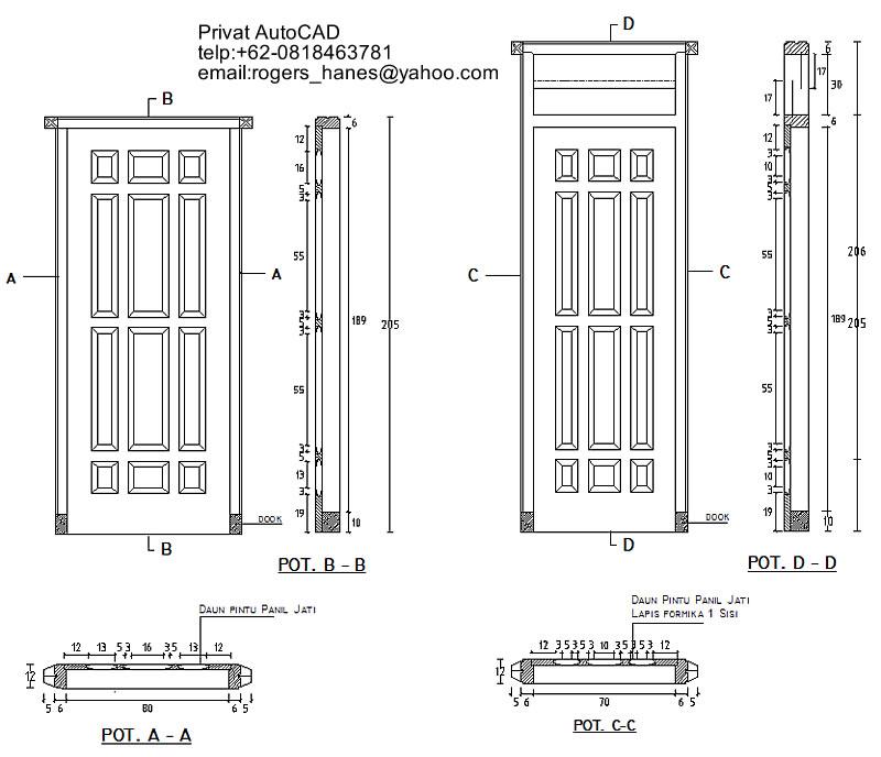 Contoh detail kusen pintu beserta daunnya untuk privat AutoCAD