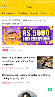 get 5000 rs real cash by uc news app