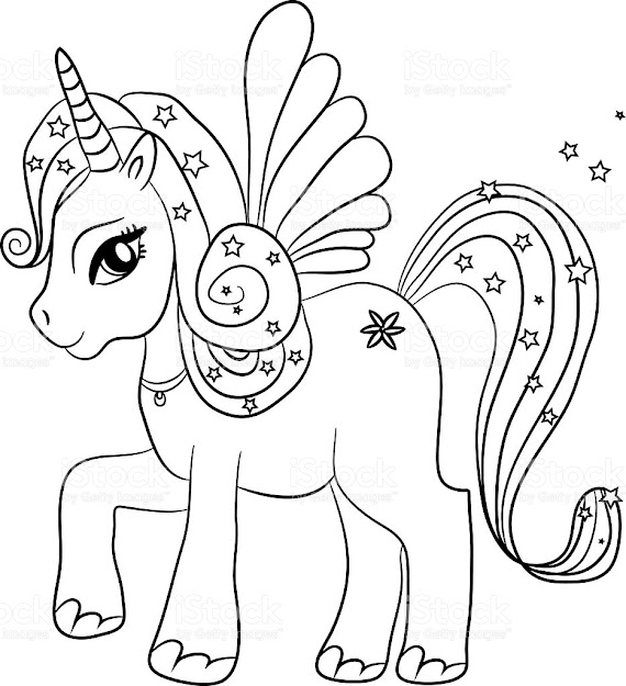 Unicorn  Coloring Page For Kids Royaltyfree Stock Vector Art