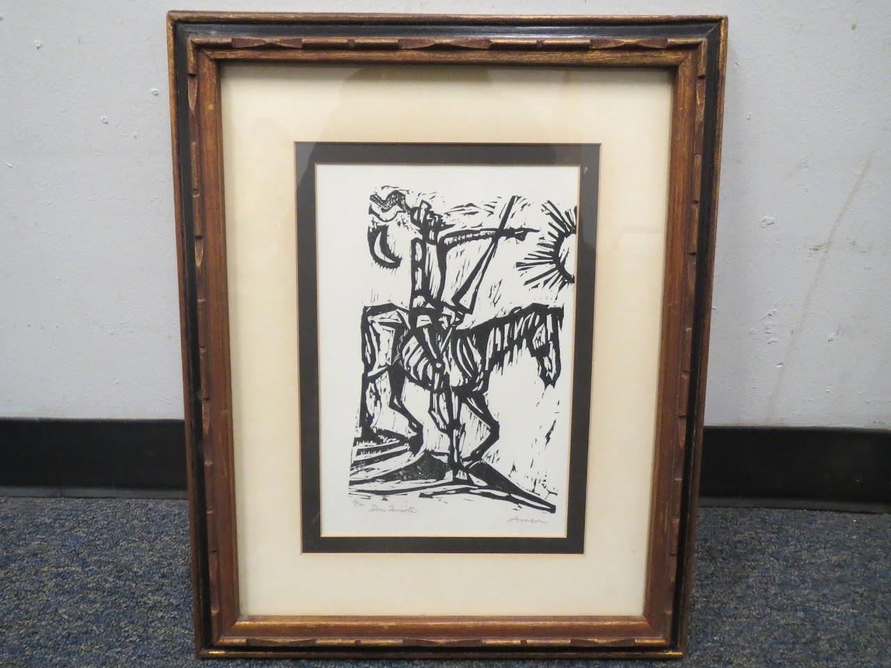 Don Quixote Woodblock Print by Irving Amen