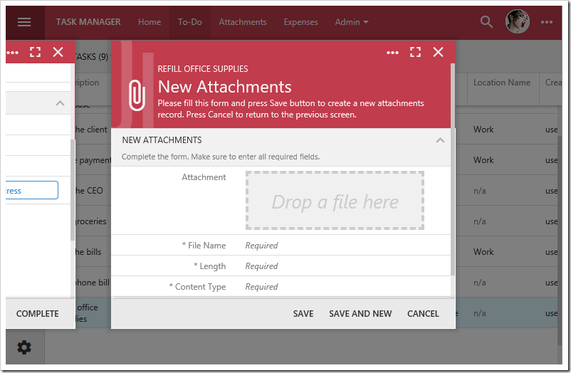 """New Attachments"" modal form displayed in Touch UI 2017."