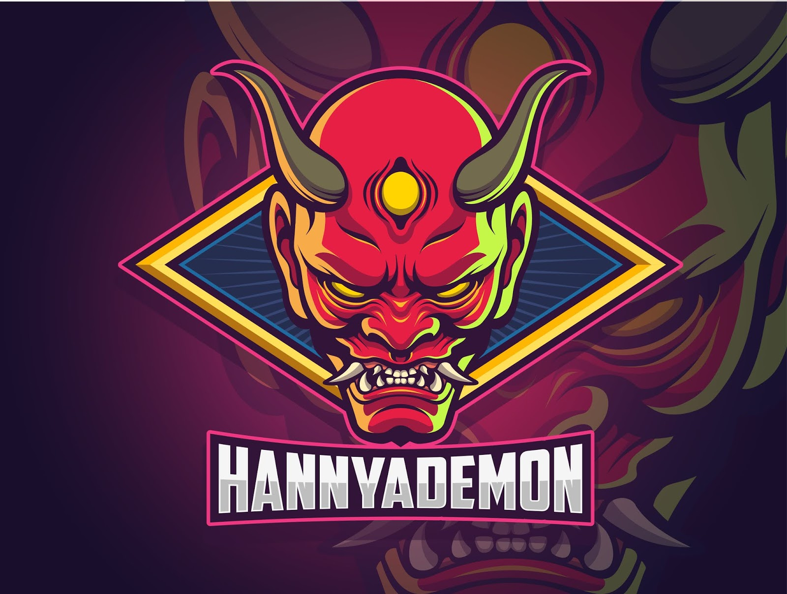 Hannya Demon Face Esports Logo Design Your Team Free Download Vector CDR, AI, EPS and PNG Formats