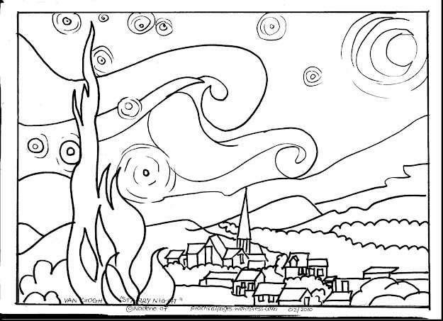 Astounding Van Gogh Starry Night Coloring Page With