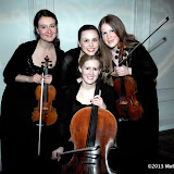WWW.ENTSIMAGES.COM -  jubilee Quartet ( Tereza Privratska, Alana Tonetti-Tieppo, Stephanie Edmundson and Laureen Steel)    at    Royal State Bed - launch party at The Orangery, Kensington Palace,  London March 21st 2013  ( Bed brand Savoir Beds unveil new Royal State Bed, designed ahead of the the brands sponsorship of Hampton Court Palace exhibition Secrets of the Royal Bedchamber) .                                                  Photo Mobis Photos/OIC 0203 174 1069