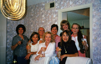 Photo: Celebrating a successful 2000 reunion at Suzy (Wright) Thomas's home. Michele (Baldree) Bibb, Linda (Wilson) Mitchell, Rosemary (Worthy) Dooley, Suzy (Wright) Thomas, Carol (Craven) Barnes, Kathi (Hesson) Curtis, Barbara (Novosad) Stueve, Carolyn (McGill) Hoelscher