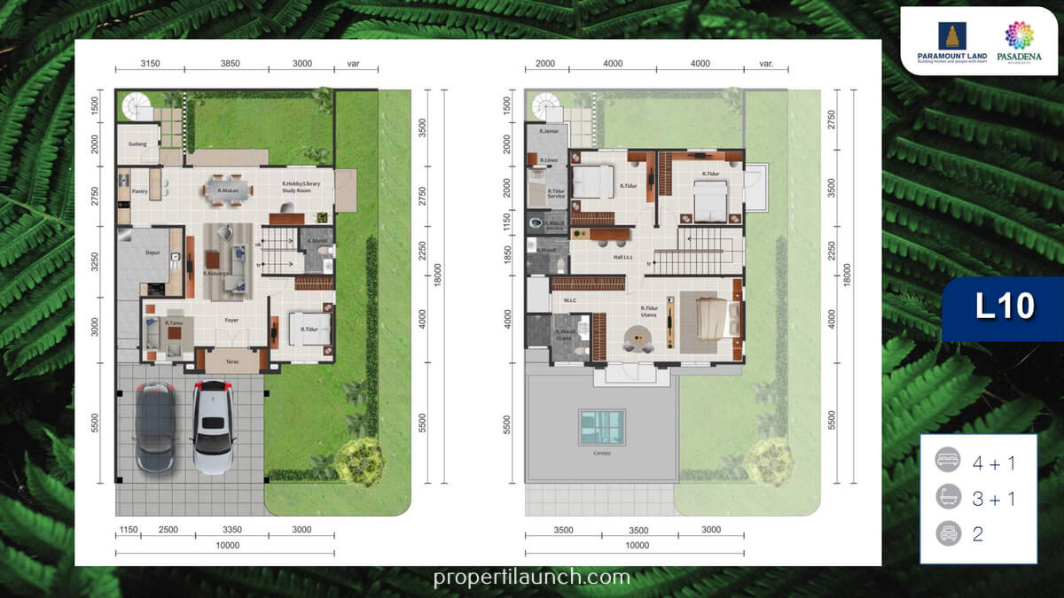 Denah Rumah Pasadena Residence Tipe 10 Sudut