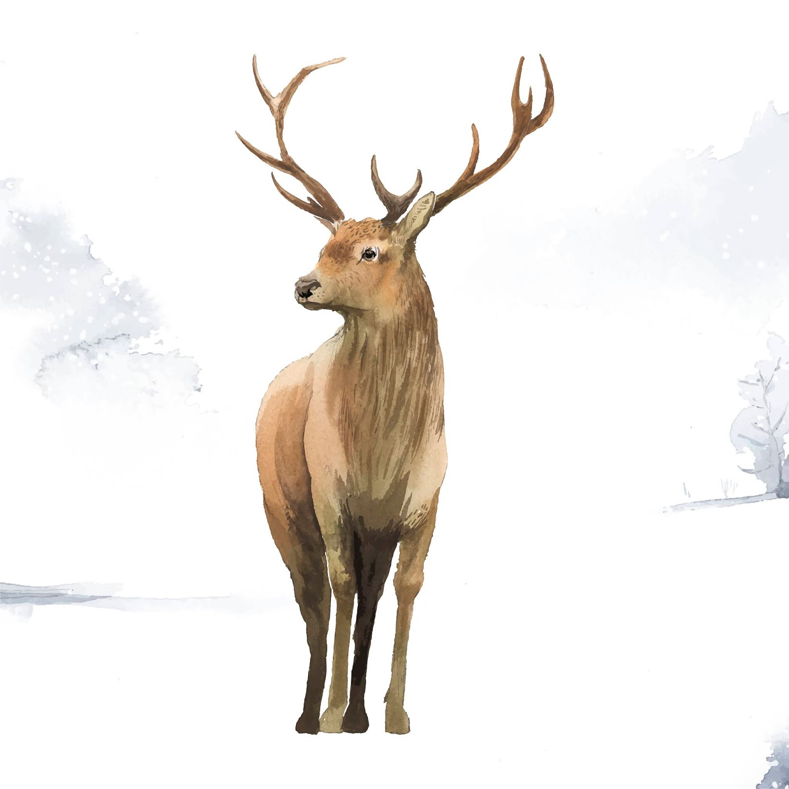 Male Deer Painted By Watercolor Vector Free Download Vector CDR, AI, EPS and PNG Formats