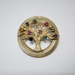 14K Gold Tree of Life Brooch
