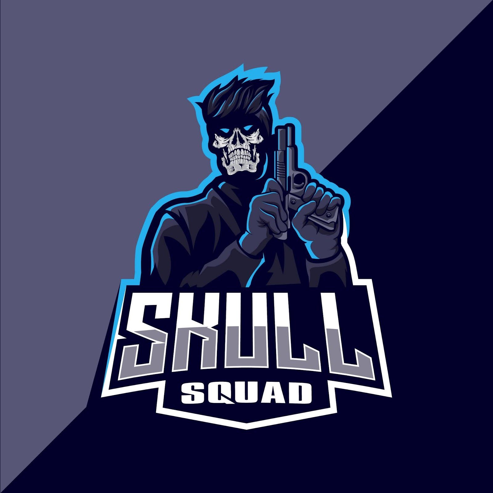 Skull With Gun Mascot Esport Logo Free Download Vector CDR, AI, EPS and PNG Formats