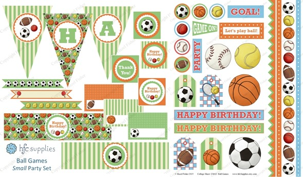 2015 April 30 monthly review new printables party set ball games collage sheet hazelfishercreations
