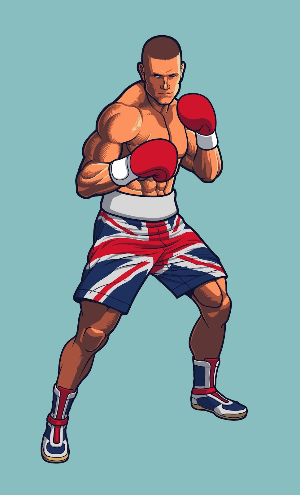 Boxing Fighter Wearing Uk Flag Shorts.jpg Free Download Vector CDR, AI, EPS and PNG Formats
