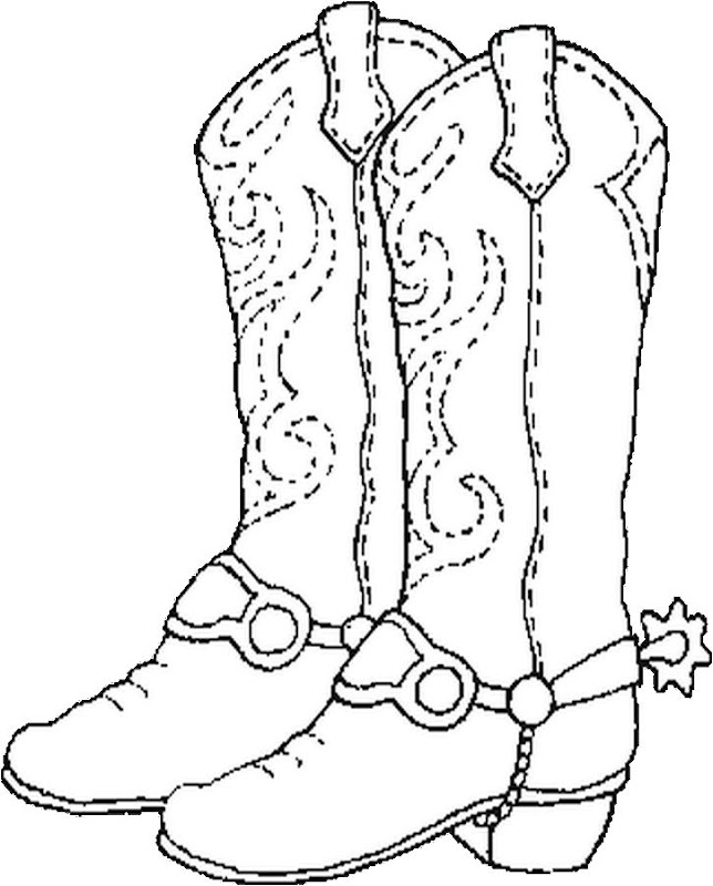 Cowboy boot, free colorign pages