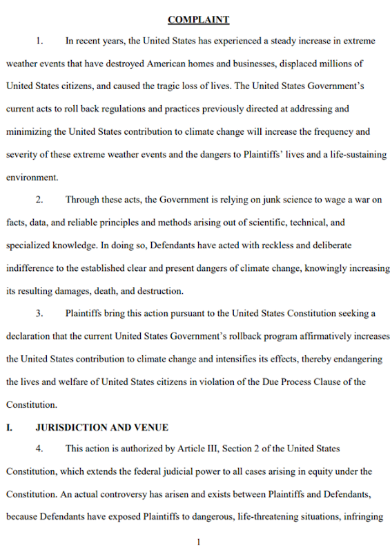 First page of a suit filed on behalf of Clean Air Council and two Pennsylvania children against the federal government to prevent it from rolling back policies, programs, laws, rules, and regulations previously in place to address and ameliorate climate change and its consequences. Graphic: Hausfeld