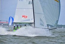 J/70 sailing at 25 kts off the wind in Charleston Race Week