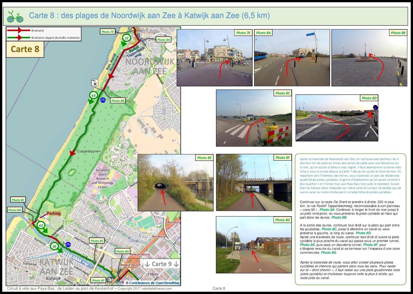 Carte 8 - Circuit à vélo aux Pays-Bas de Leiden au Parc de Keukenhof par veloiledefrance.com