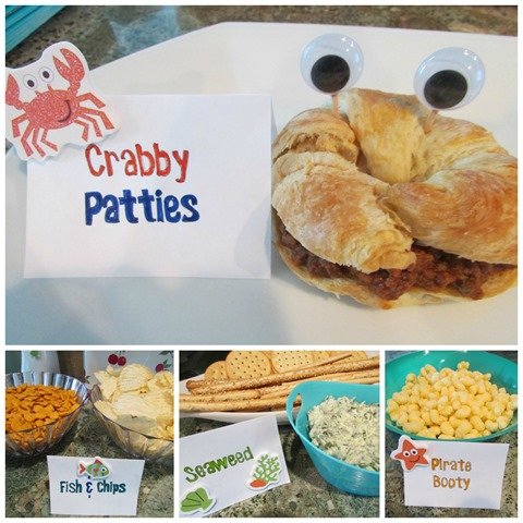 Easy party food for a mermaid pirate under the sea kids birthday party