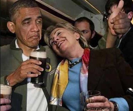 obama hillary drinking