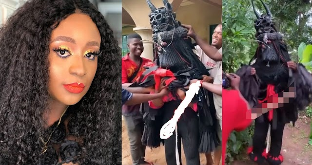 """""""This May Backfire, Let's Try To Respect Culture"""" – Nigerians React As Actress Queen Wokoma Wears Masquerade Regalia (VIDEO)"""