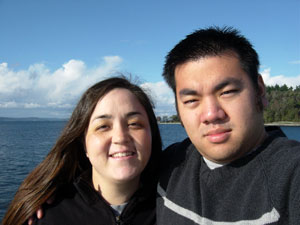 Photo of my friend Kelli and I on the ferry to Vashon Island on October 29, 2005. Photo taken by Nick Peyton.