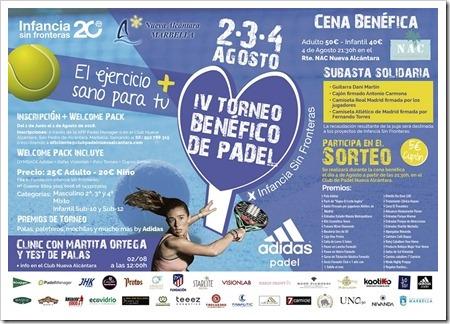 IV Torneo Benéfico de Pádel en el Club de Pádel Nueva Alcántara 2,3 y 4 de agosto.