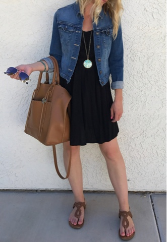 Thrifty Wife, Happy Life- Black dress with denim jacket, accessoried with turquoise and cognac