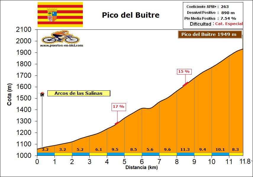 Altimetría Perfil Pico del Buitre