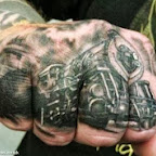 Train tattooed on hand - tattoo designs