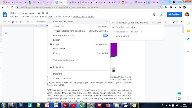 cek typo word di Google Dokumen