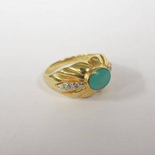 14K Gold, Diamond and Blue Stone Ring