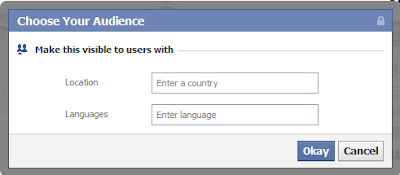 Facebook select language and country function