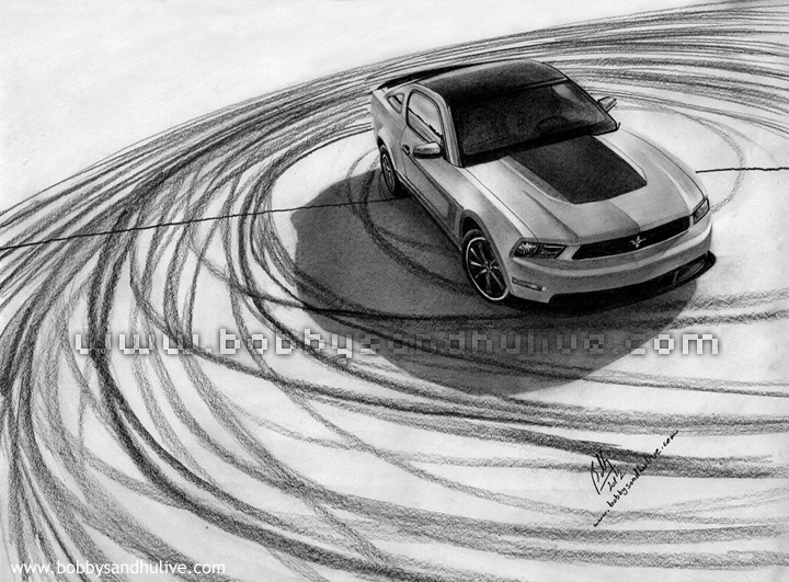 Ford Mustang Boss 302 Car Drawing Art Pencil