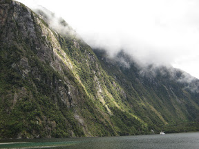 Sunlit mountains lining Milford Sound