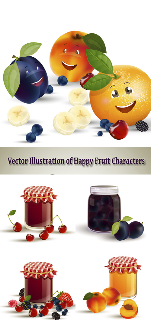 Stock: Vector illustration with happy fruit and jam jars