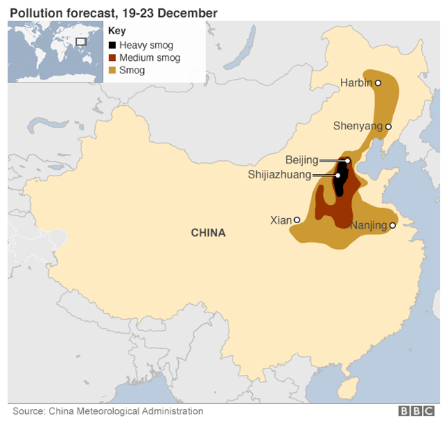Pollution forecast for China, 19-23 December 2015. Graphic: China Meteorological Administration