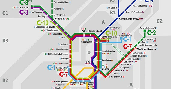 Mapa De Lineas De Cercanias De Madrid Edicion Noviembre 2018