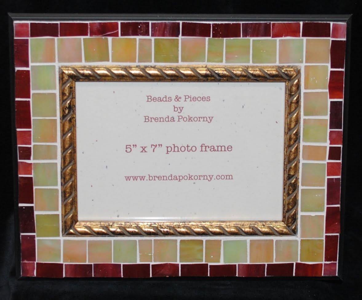 "Pearl Satin & Burgundy Berry 5"" x 7"" Mosaic Photo Frame MOF1435"