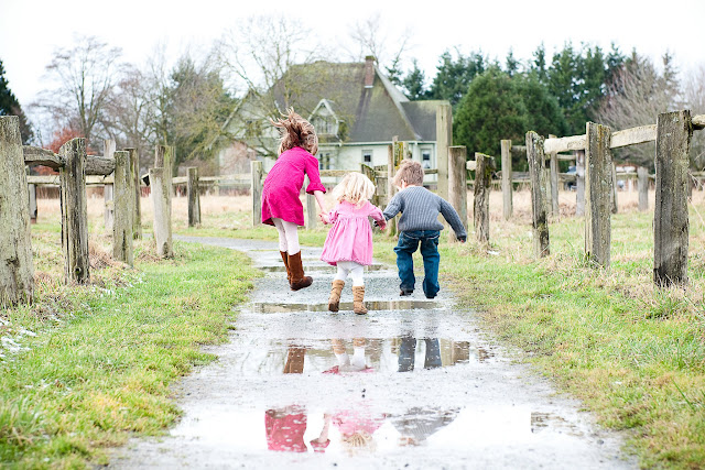 Puddle jumping at Hovander Homestead Park in Ferndale after a light snow / Credit: Jen Martin Studios
