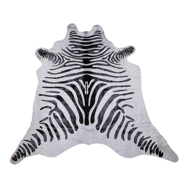 Zebra printed cowhide skin
