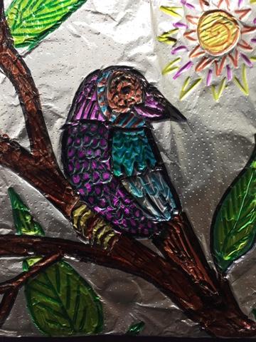 Grandville Elementary Art 3rd Grade Oaxacan Foiled Animals