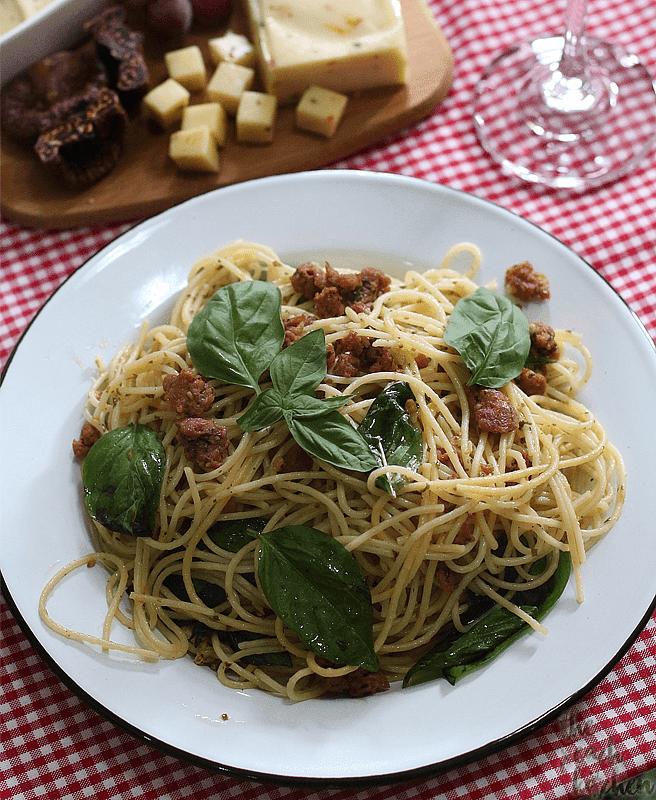 Chorizo Basil Spaghetti