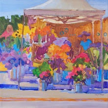 """Photo: Sunny Market Flowers, acrylic on canvas, 12"""" x 12"""", by Nancy Roberts, copyright 2015. Private collection."""