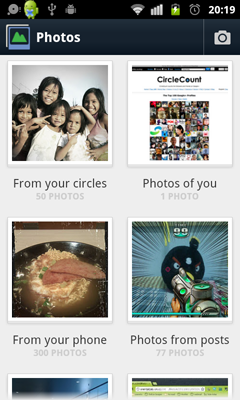 Photos interface - Google+ 2.0 for Android