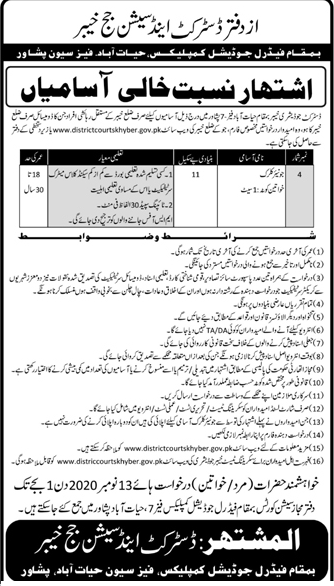 District Judiciary Khyber Jobs October 2020