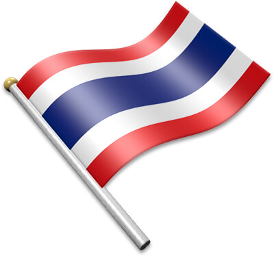 The Thai flag on a flagpole clipart image