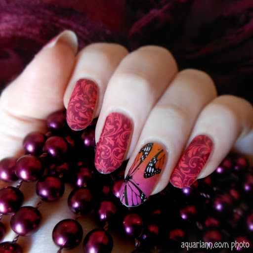 Burgundy Floral Nail Art